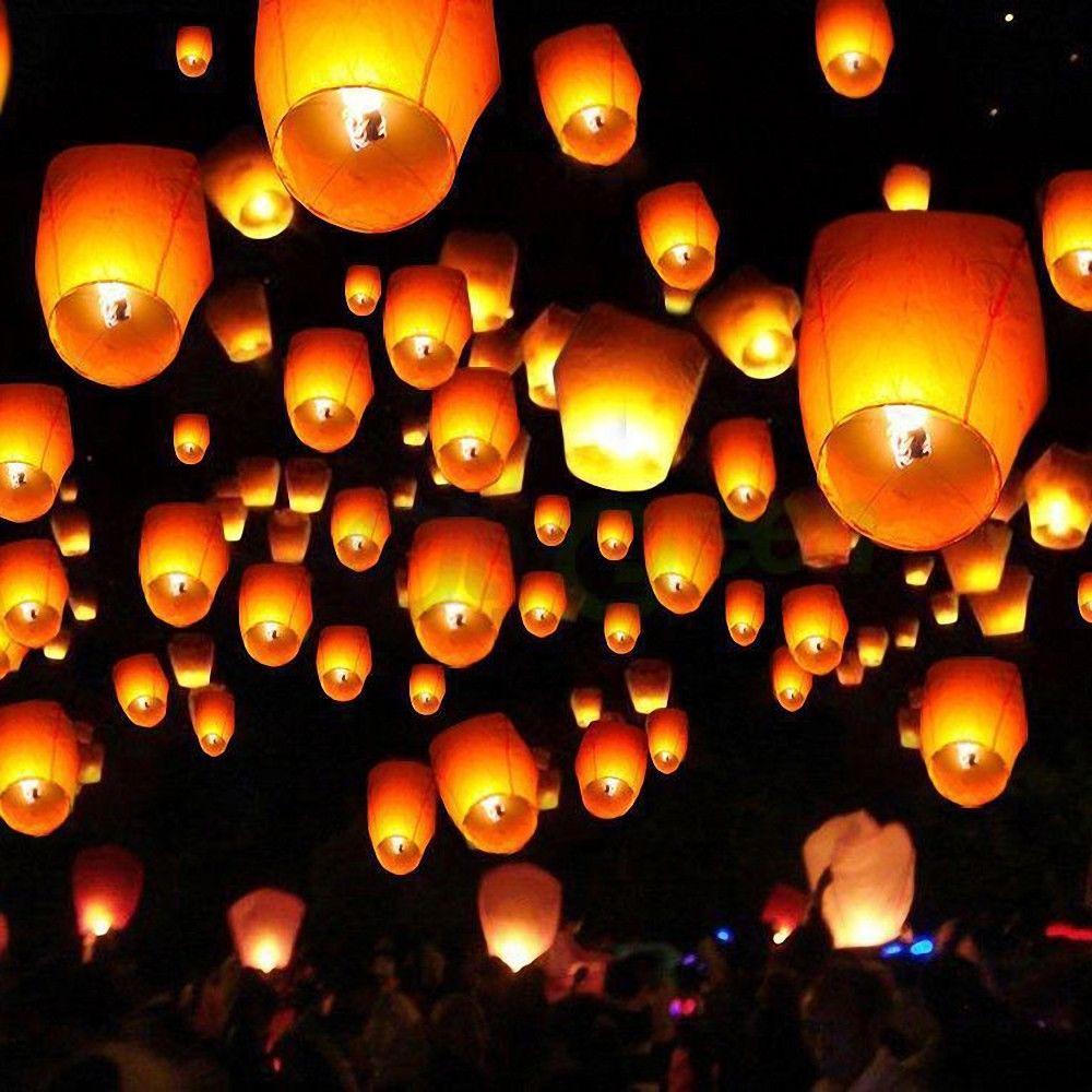 50pcs White Wishing Lanterns Chinese Paper Sky Candle