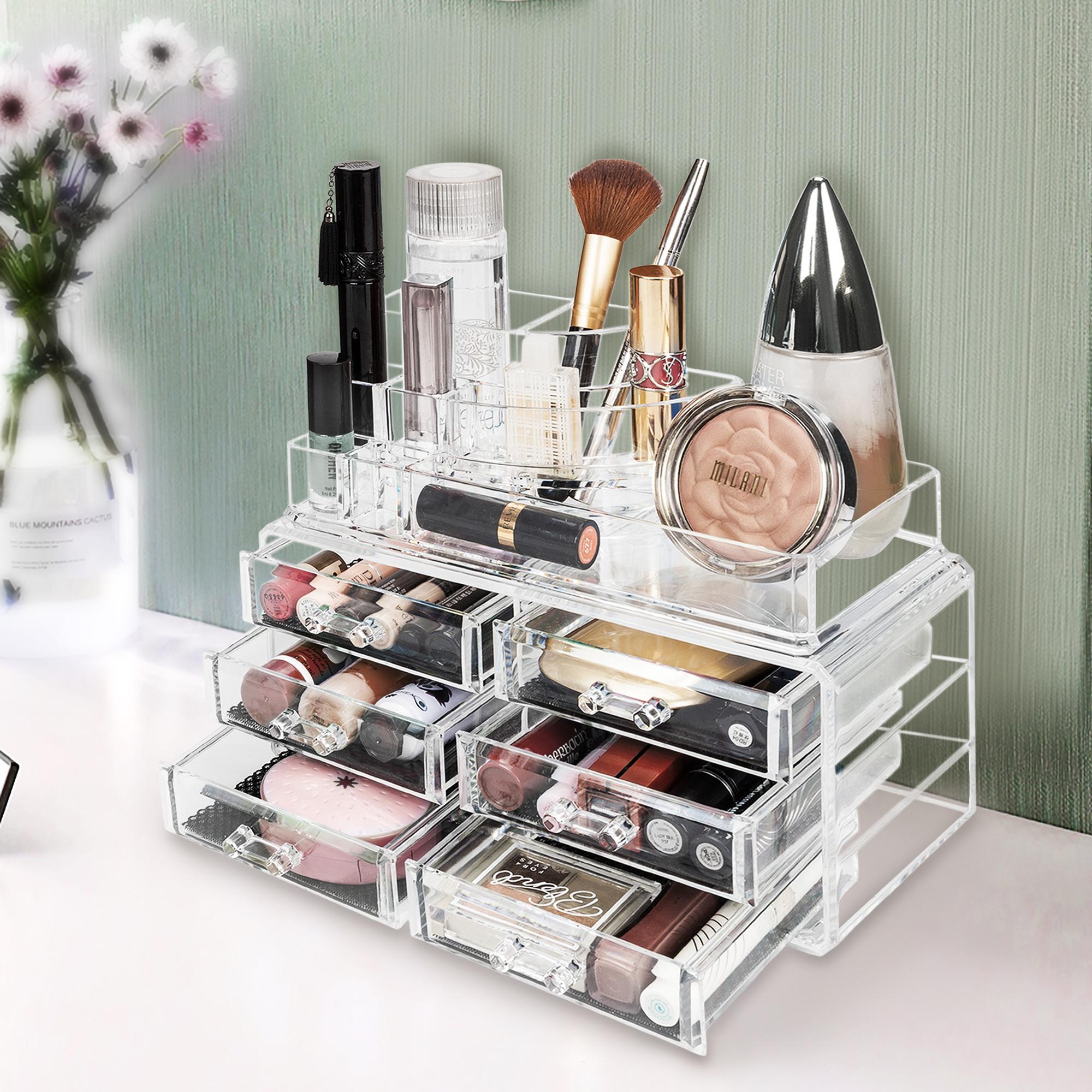 3 Tier Acrylic Cosmetic Lady Makeup Brush Holder Storage W6