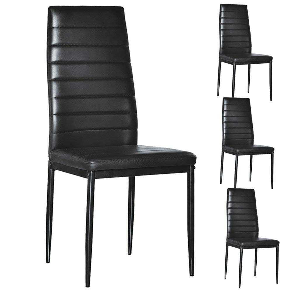 Miraculous Details About Set Of 4 Pu Leather Dining Side Chair Modern Elegant Design Home Furniture Black Machost Co Dining Chair Design Ideas Machostcouk