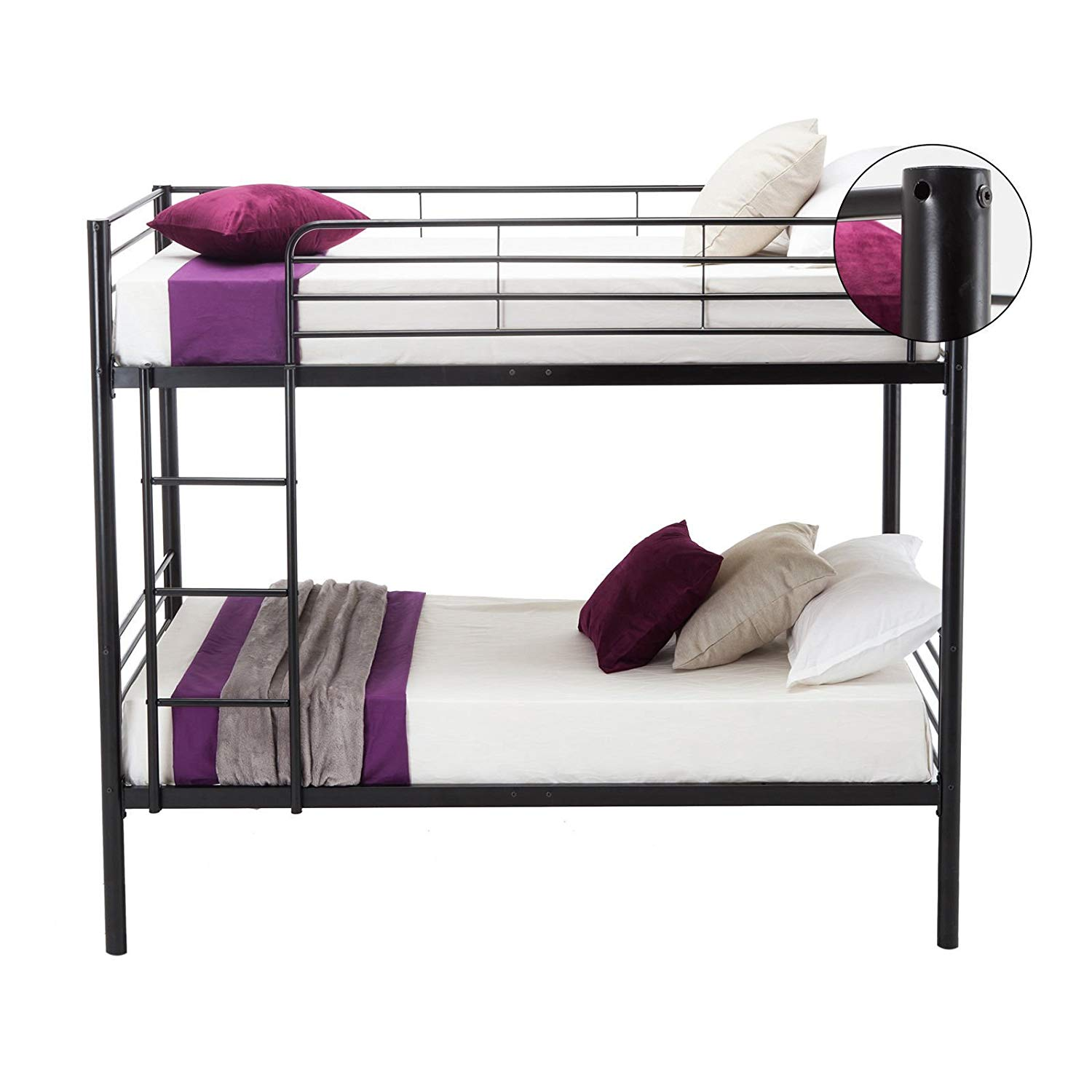 Twin Over Twin Metal Bunk Bed with Metal Frame and Ladder for Kids ...