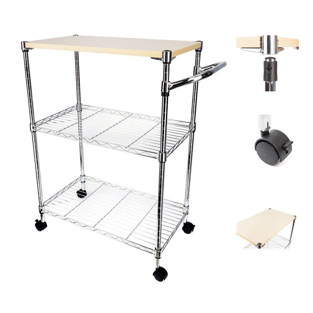 Details about 3-Tier Wire Portable Rolling Wire Shelf Rack Kitchen Cart  Heavy Duty Silver