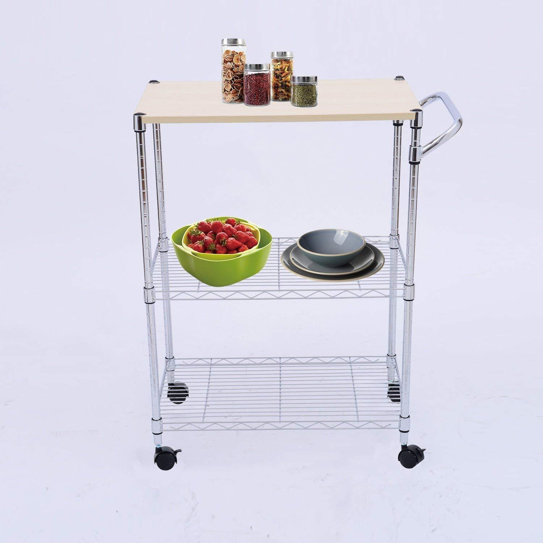 Rolling Wire Rack | 3 Tier Wire Portable Rolling Wire Shelf Rack Kitchen Cart Heavy Duty