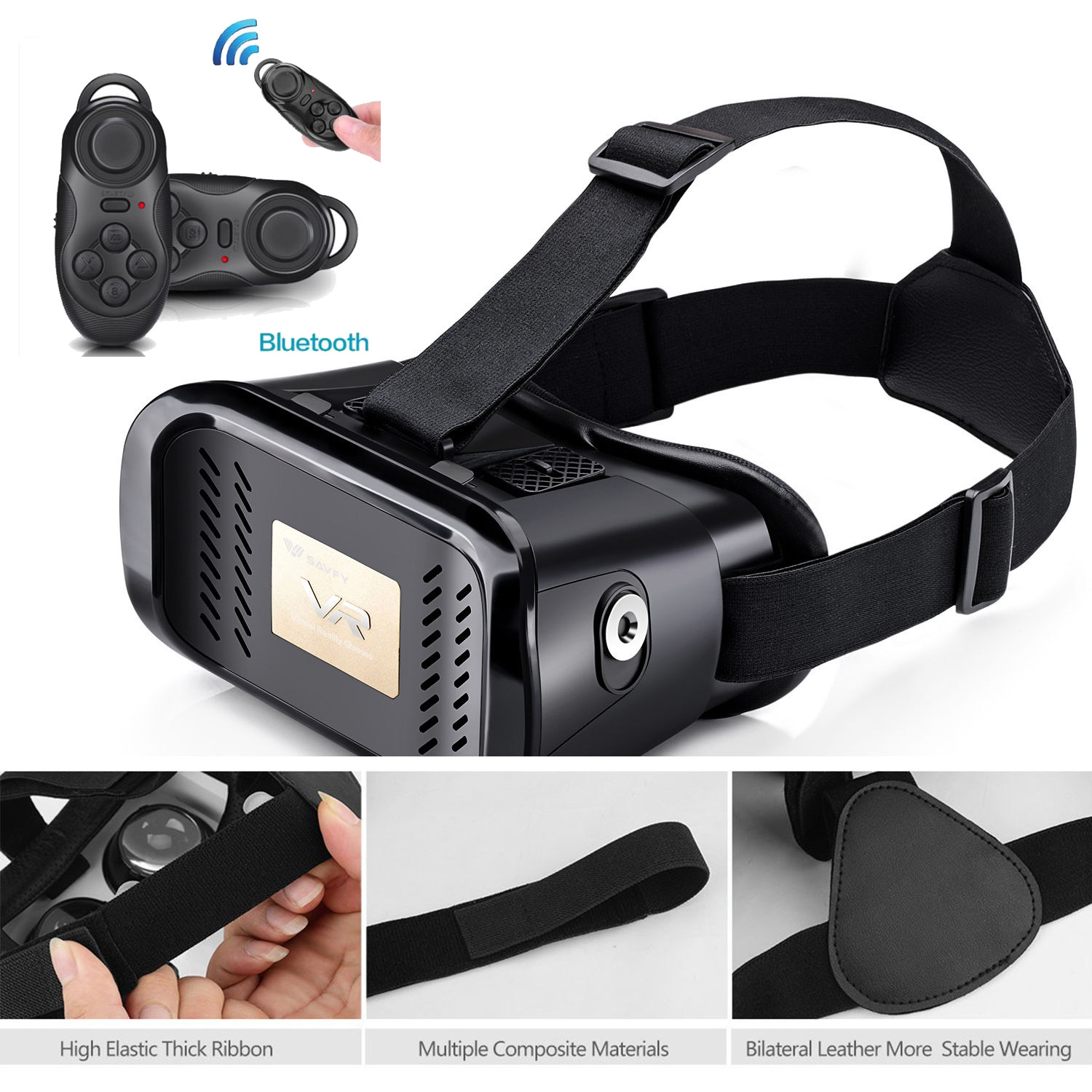 virtual reality vr 3d glasses headmount google cardboard bluetooth controller ebay. Black Bedroom Furniture Sets. Home Design Ideas