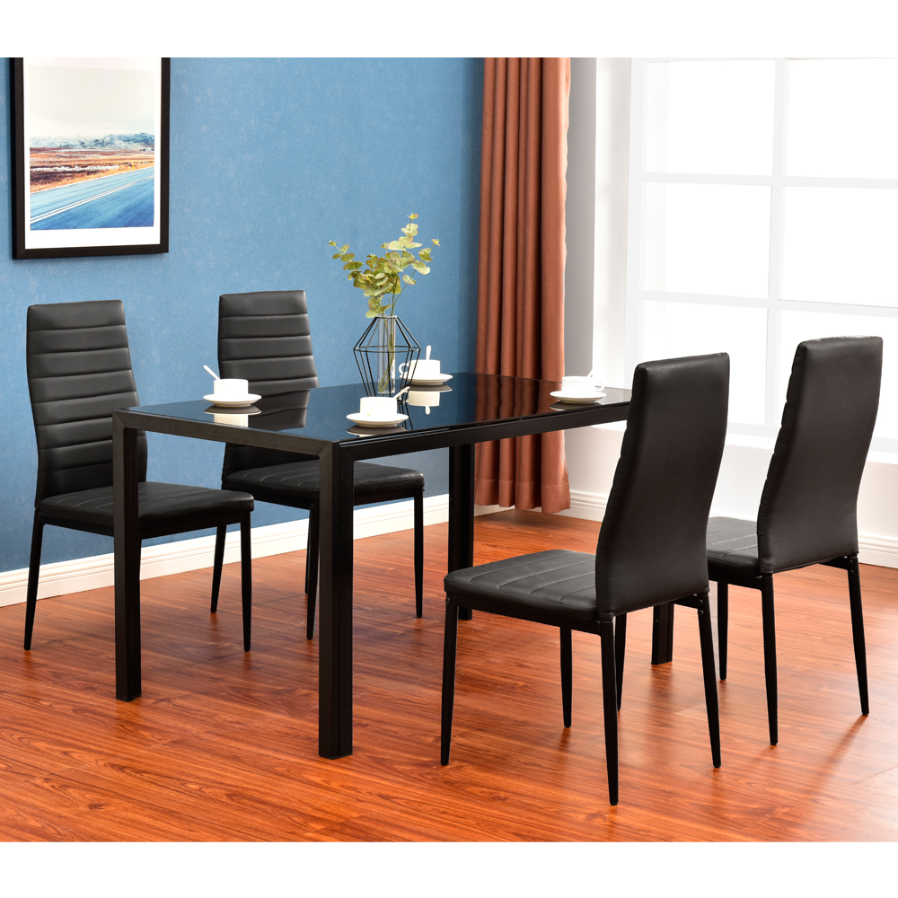 Modern 5 pieces dining table set glass top dining table chair set for 4 person