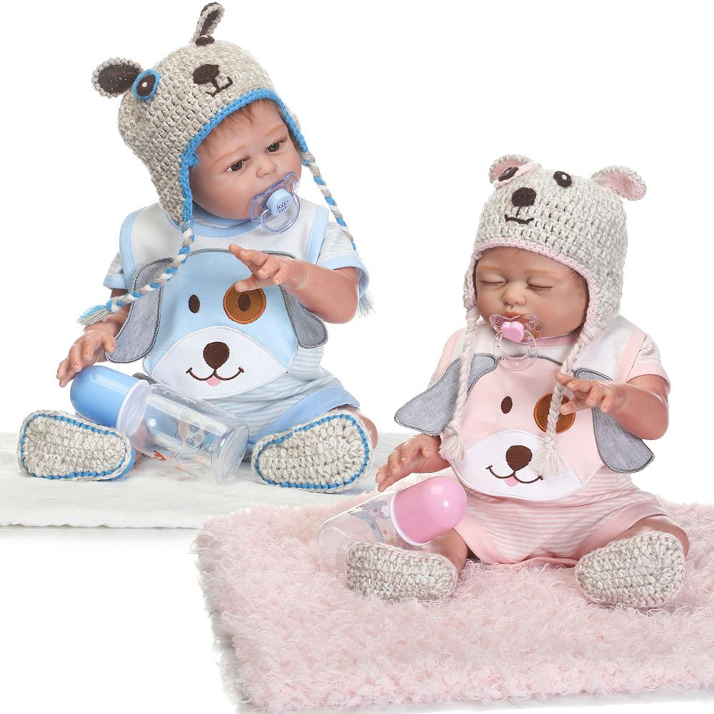 2pcs Newborn Twins Dolls 20 Quot Boy Girl Full Body Silicone