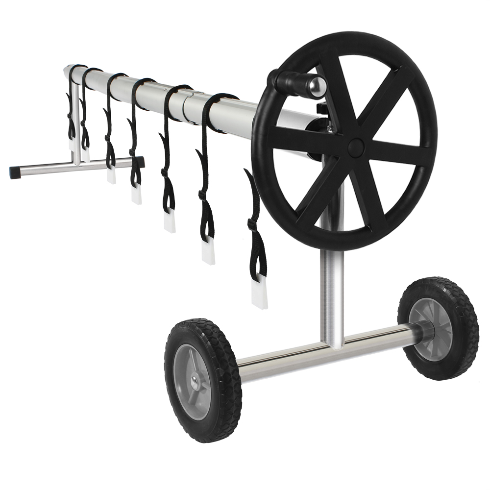 Details about 18FT Swimming Pool Cover Reel Rollers 3-Section Aluminum Pipe  with Solid Wheel