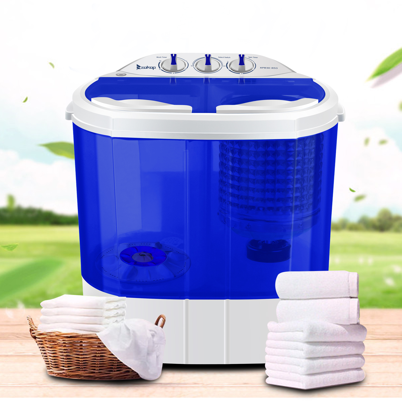 Details About Portable Mini Electric Washing Machine Compact Twin Tub  Washer Spin U0026 Dryer