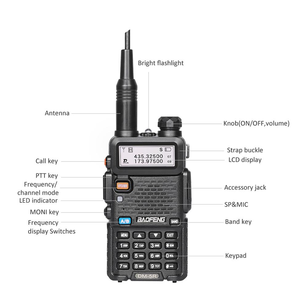 Baofeng Dm 5r Dmr Tier Ii Digital Two Way Radio Vhf Uhf Walkie Ht Bf Uv5r Dual Band Talkie 2000mah